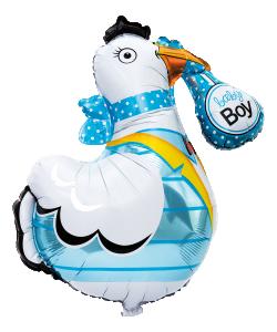 Folieballong Stork blå