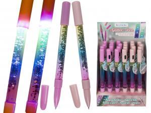 Penna med glitter och belysning