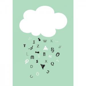 Poster 30x40 moln grön