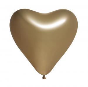 Ballonger spegelguld hjärta 5-pack