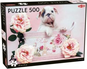 Pussel Puppy and roses 500 bitar
