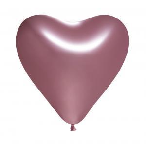 Ballonger spegelrosa hjärta 5-pack