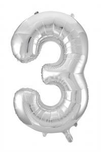 Folieballong 86 cm siffra 3 silver