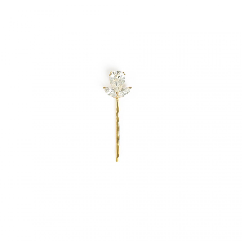 Flower Bobby Pin Crystal Gold