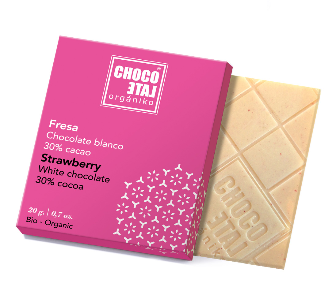 White Chocolate Strawberries (ekologisk, ES-ECO...