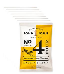 John & John Crisps 4 Suffolk Cheddar & Chives, 40g x24