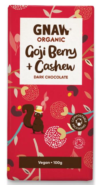 Organic Dark Chocolate With Goji Berries & Cashews 100g