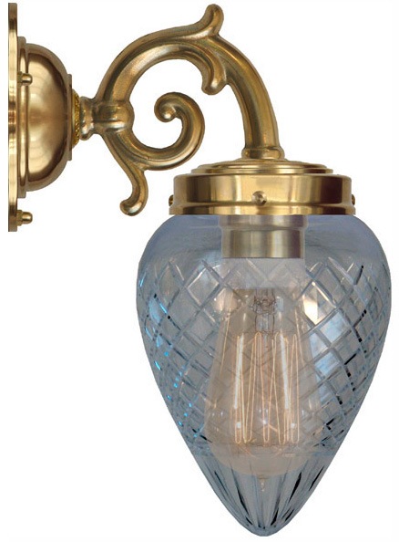 Vägglampa mässing Topelius Klarglas droppe Klassisk