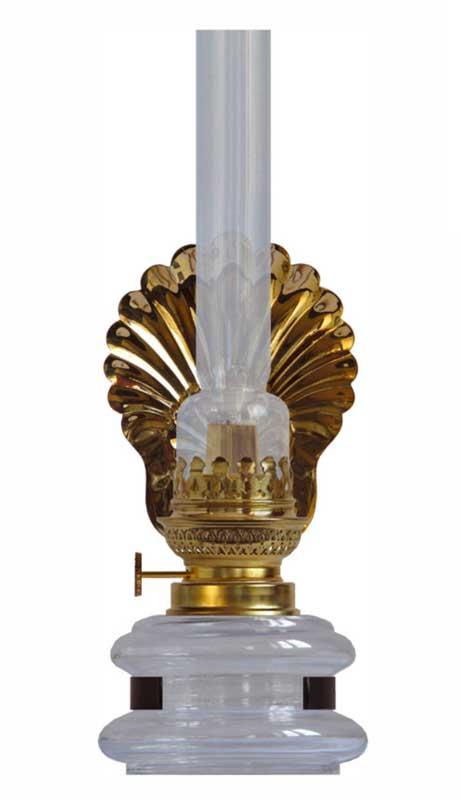 Fotogenlampa Stumholmslampett med snäckskalsreflektor