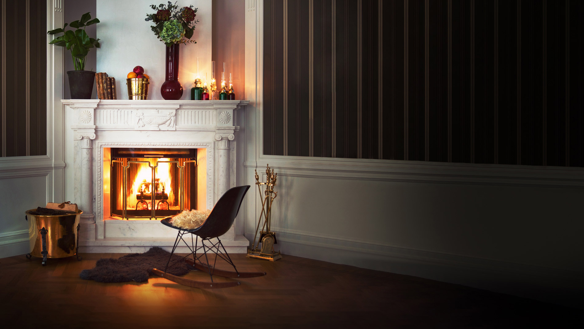the fireplace - old style - vintage style - classic interior - old fashioned style