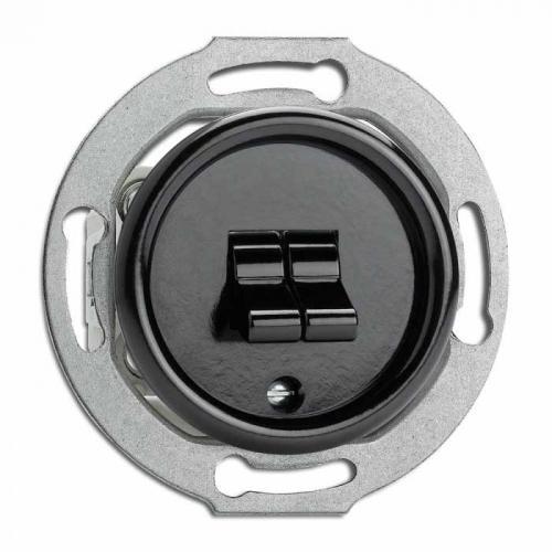Strömbrytare insats - Dubbel strömbrytare (vipp) bakelit