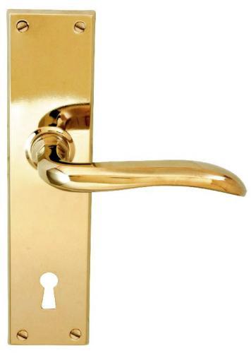 Door handle - Låsbolaget long plate brass