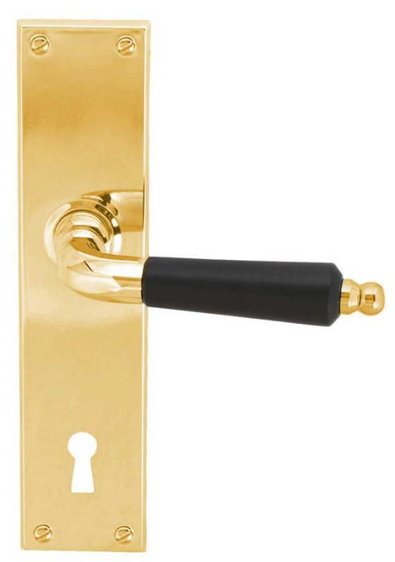 Door handle - Long plate with wooden grip brass