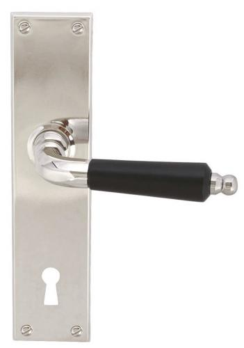 Door handle - Long plate with wooden grip (F)