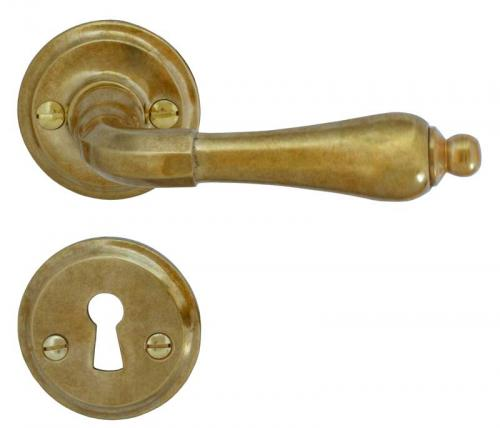 Door Handle Set - Raw brass