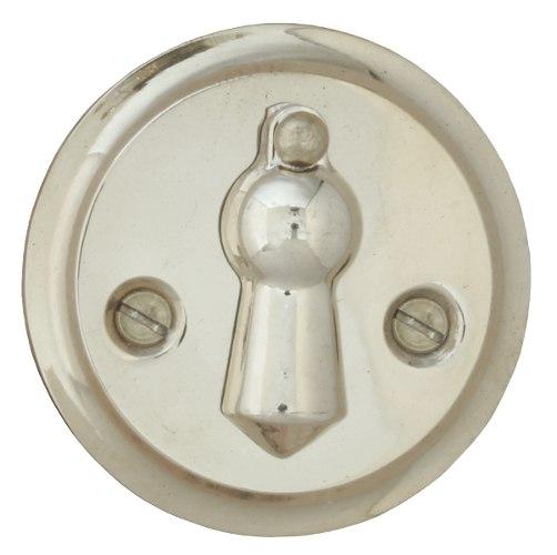 Nyckelskylt - Dubbelkläpp förnicklad 49 mm - sekelskiftesstil - gammaldags inredning - retro - klassisk stil