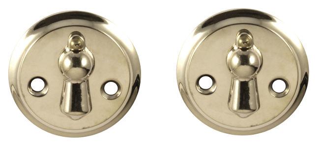 Nyckelskylt - Dubbelkläpp förnicklad 49 mm - retro - sekelskiftesstil - gammal inredningsstil