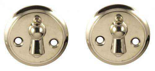 Escutcheon - Double clapper nickel 49 mm - oldschool interior - old fashioned style - classic interior