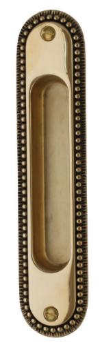 Sliding door handle - Sekelskifte brass 158x36 mm - old style - oldschool interior - old fashioned style