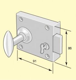 Chamber lock - Brass knob Låsbolaget 3
