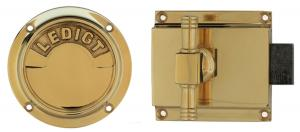 WC lock round - Toilet latch brass