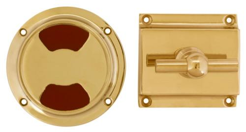 WC lock round for modern door - Toilet latch brass