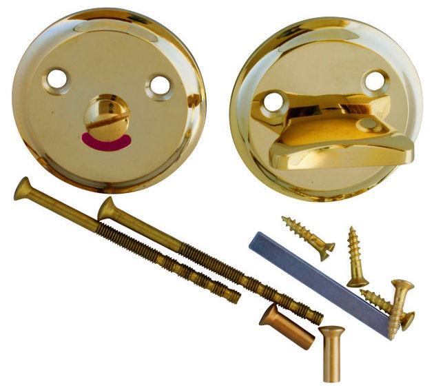 WC lock - Round brass