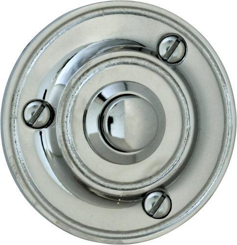 Bell Push - Round nickel-plated-brass - old style - vintage interior - old fashioned style - classic interior