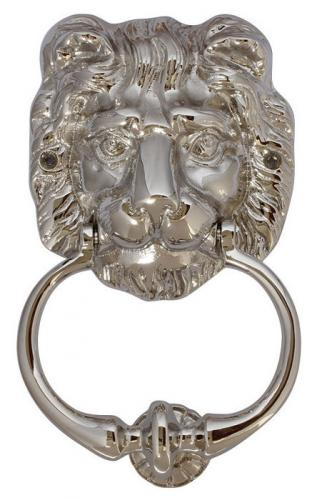 Door Knocker - Lion head nickel - old style - vintage interior - old fashioned style - classic interior