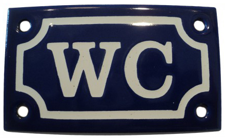 Enamel Door Sign - WC Blue/White
