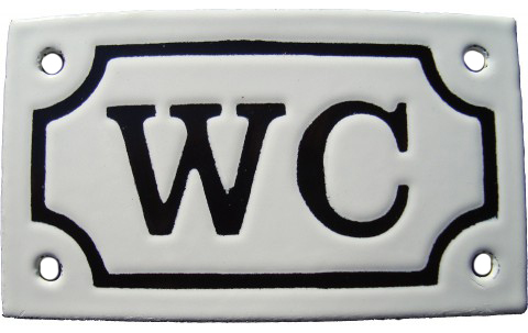 Enamel Door Sign - WC White/Black