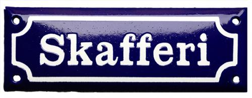 Enamel Door Sign - Skafferi Blue/White