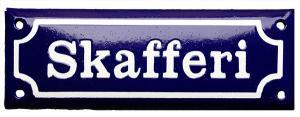 Emaljskylt - Skafferi blå/vit - sekelskifte - gammal stil - klassisk inredning - retro