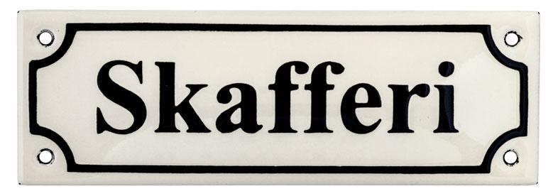 Emaljskylt - Skafferi vit/svart