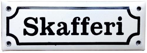 Enamel Door Sign - Skafferi White/Black