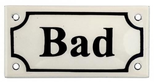 Emaljeskilt - Bad hvit/svart