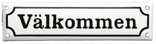 Enamel Door Sign - Welcome White/Black