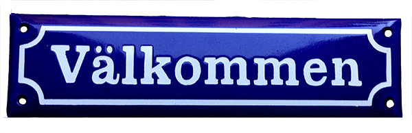 Enamel Door Sign - Välkommen Blue/White - old style - vintage interior - classic style - retro