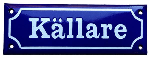 Enamel Door Sign - Basement Blue/White