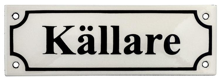 Enamel Door Sign - Basement White/Black