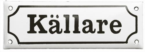 Enamel Door Sign - Basement White/Black