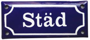 Enamel Door Sign -  Städ Blue/White