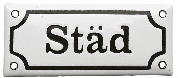Enamel Door Sign -  Städ White/Black