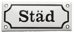 Enamel Door Sign -  Städ White/Black