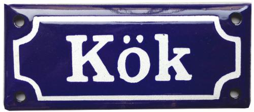 Enamel Door Sign - Kök Blue/White