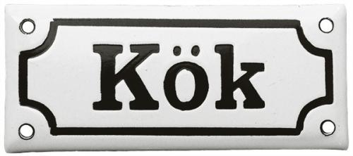 Enamel Door Sign - Kök White/Black