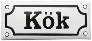 Emaljskylt - Kök vit/svart - sekelskifte - gammal stil - klassisk inredning - retro