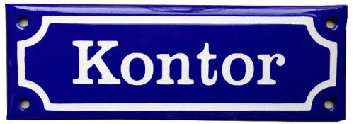 Enamel Door Sign - Kontor Blue/White