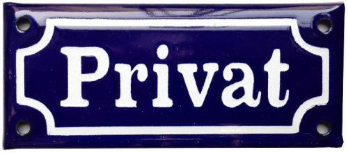 Enamel Door Sign - Privat Blue/White