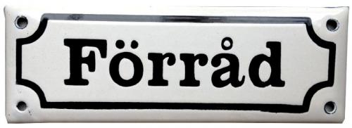 Enamel Door Sign - Förråd White/Black
